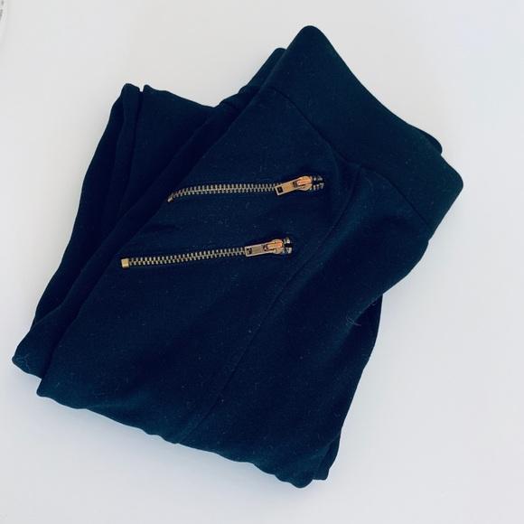 Zara Pants - Zara Gold Zipper Black Leggings